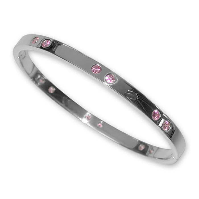Sterling Silver Pink Cubic Zirconia Bangle