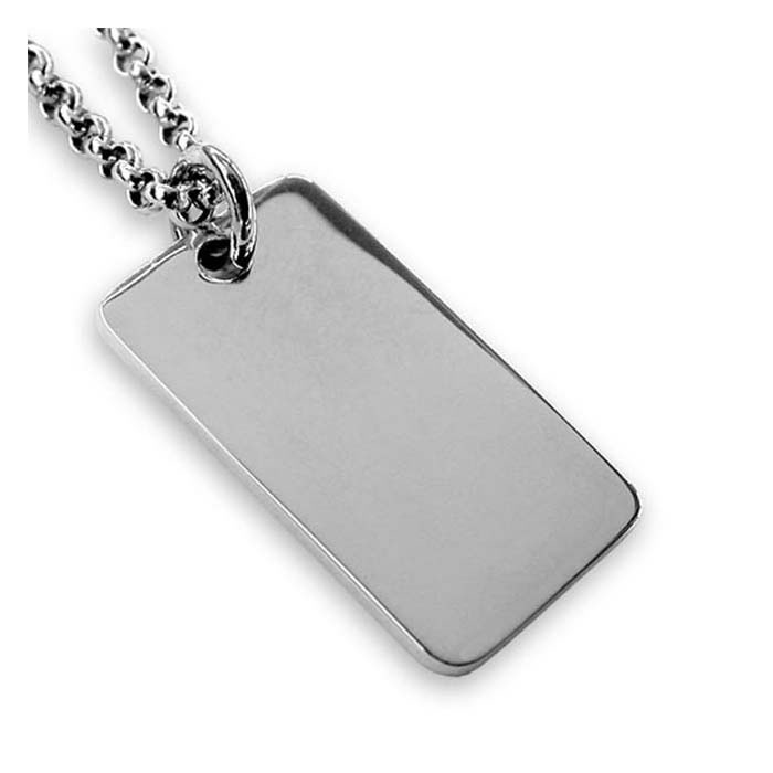 Sterling silver plain square dog tag pendant aloadofball Images