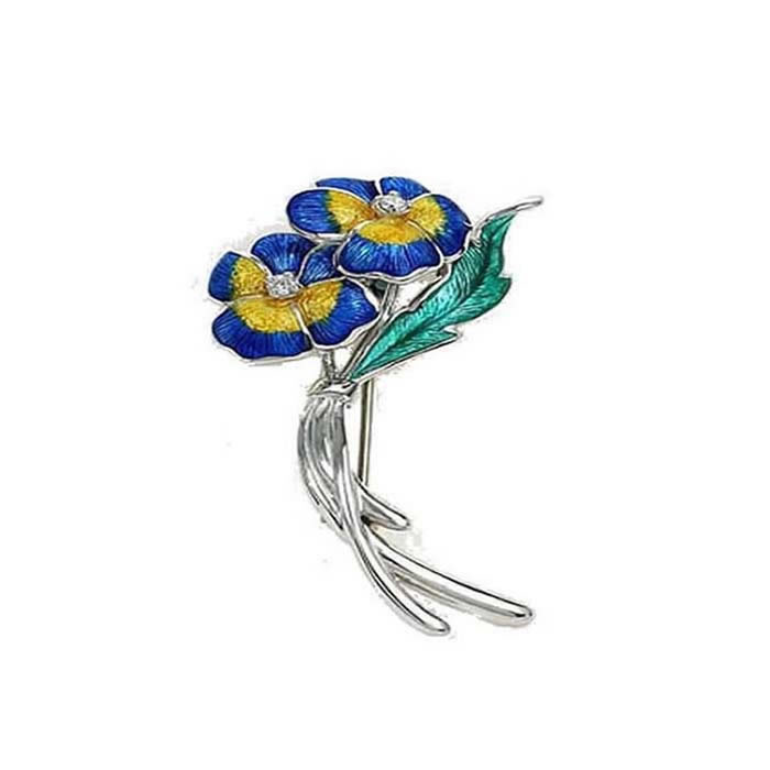 Sterling Silver And Diamond Blue Pansy Brooch