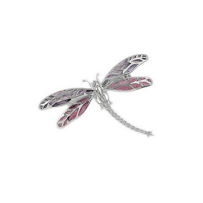 Sterling Silver Lavender Dragonfly Brooch