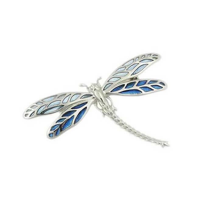 Sterling Silver Blue Dragonfly Brooch