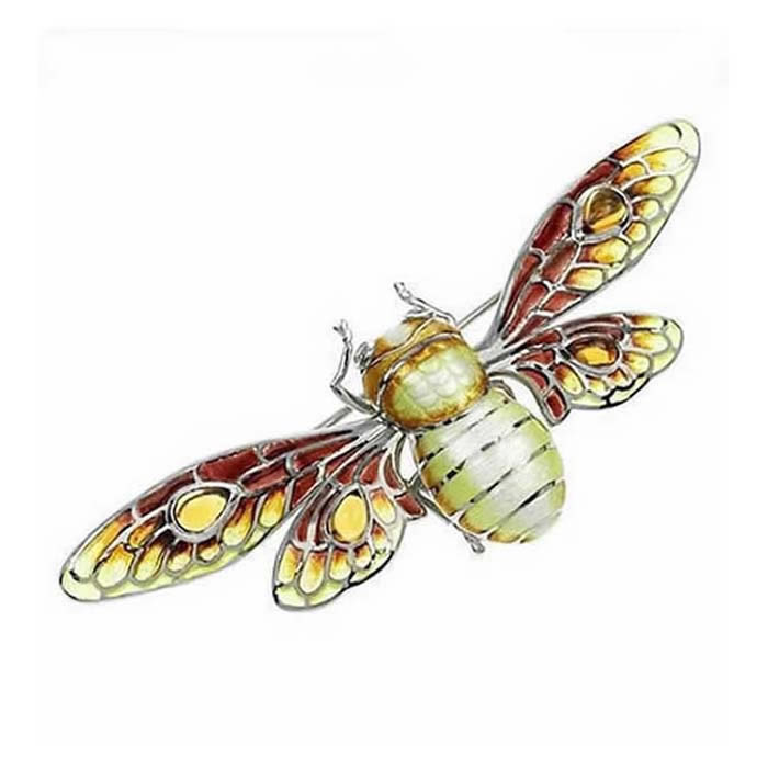 Sterling Silver And Diamond Brown Bee Brooch