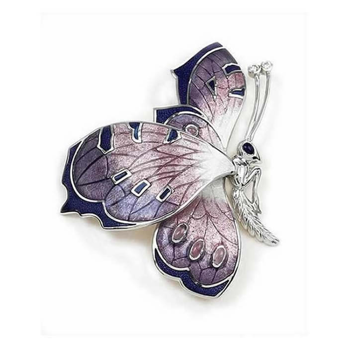 Sterling Silver And Diamond Purple Butterfly Brooch