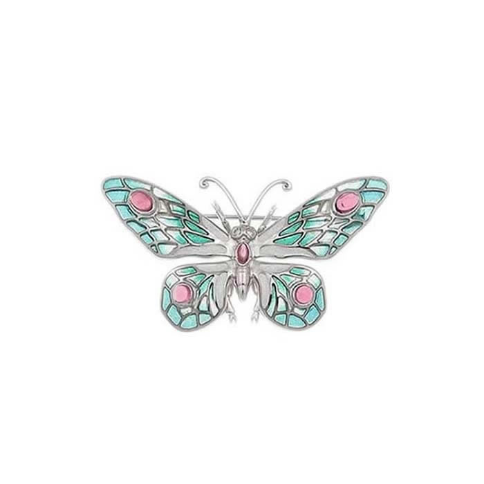 Sterling Silver And Diamond Turquoise Shades Butterfly Brooch