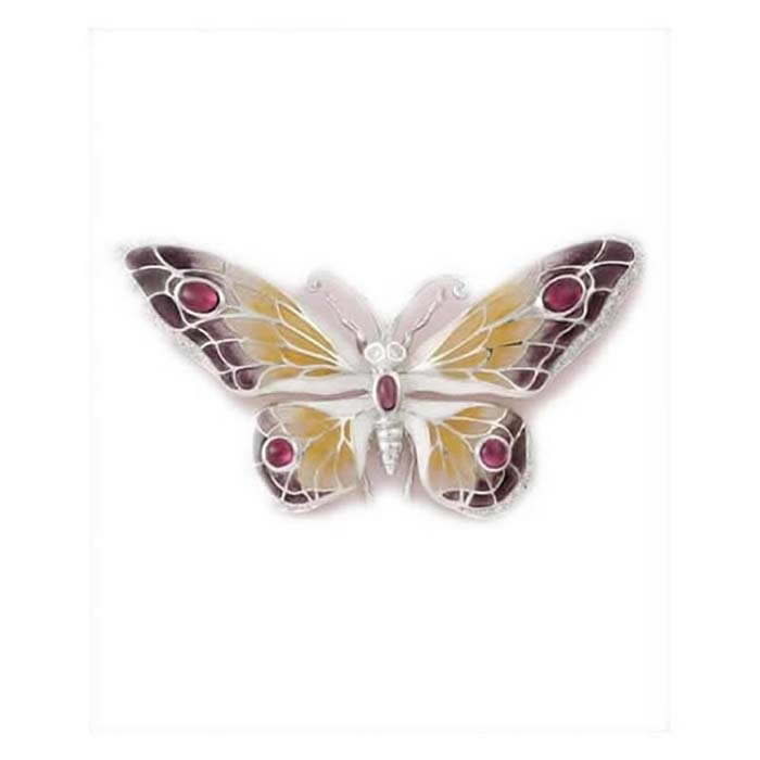 Sterling Silver And Ruby Lavender Butterfly Brooch