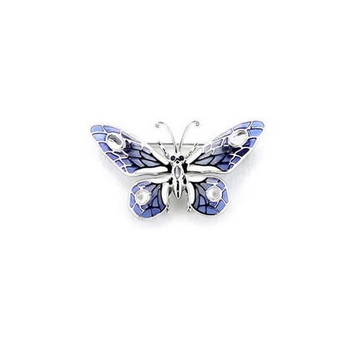 Sterling Silver and Blue Sapphire Blue Butterfly Brooch