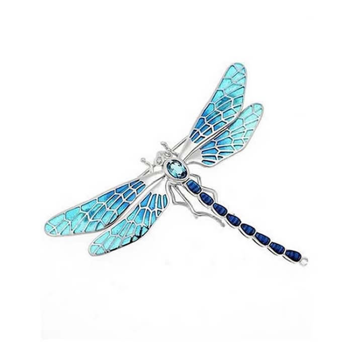 Sterling Silver And Diamond Dark Blue Dragonfly Brooch