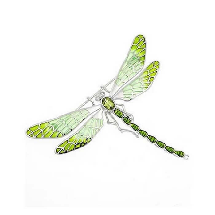 Sterling Silver And Diamond Lime Green Shades Dragonfly Brooch
