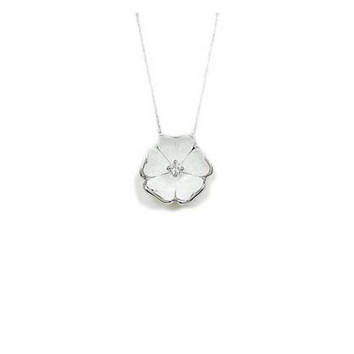 Sterling Silver and Diamond White Pansy Necklace