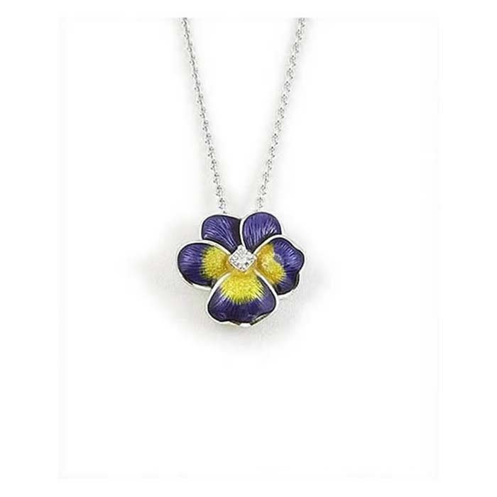 Sterling Silver and Diamond Purple Pansy Necklace