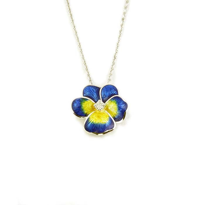 Sterling Silver and Diamond Blue Pansy Necklace