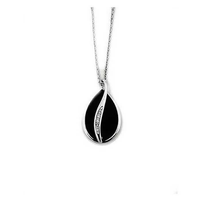 Sterling Silver and Diamond Black Teardrop Necklace
