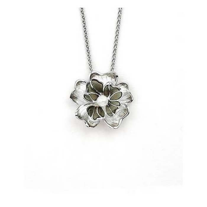 Sterling Silver And Pearl Grey Flower Necklace