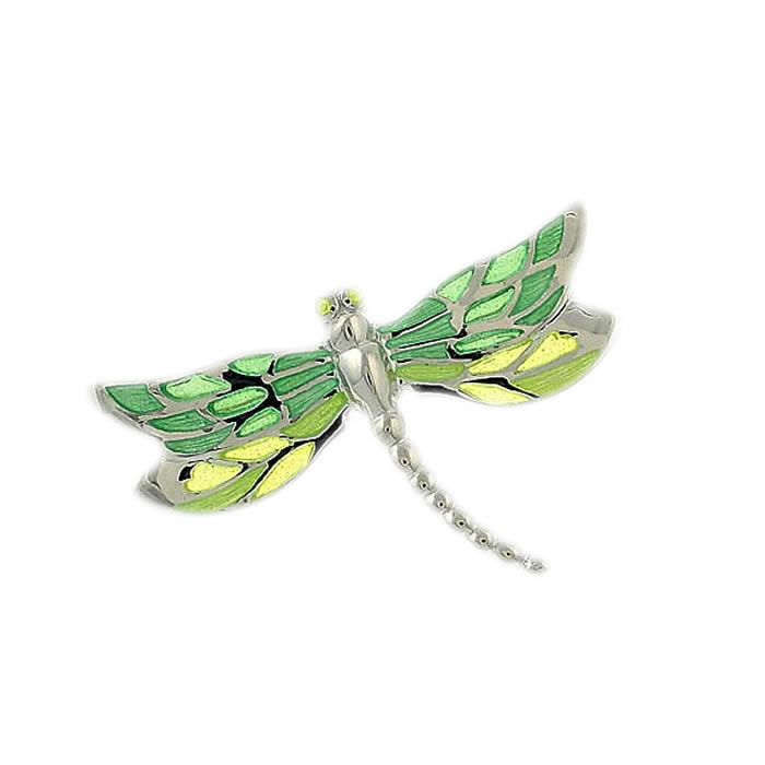 Sterling Silver Green Shaded Dragonfly Brooch