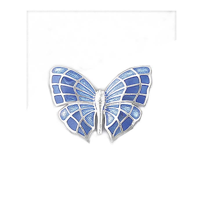 Sterling Silver Blue Butterfly Brooch