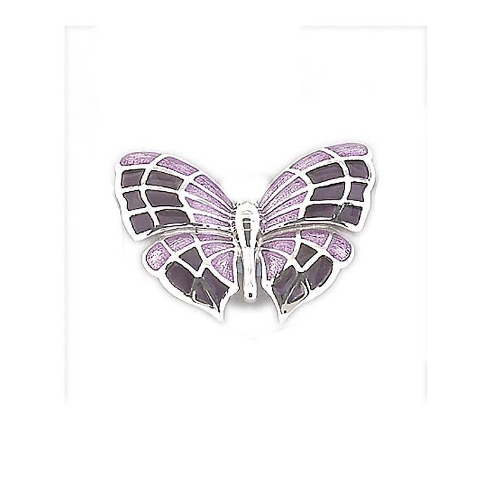 Sterling Silver Lavender Butterfly Brooch
