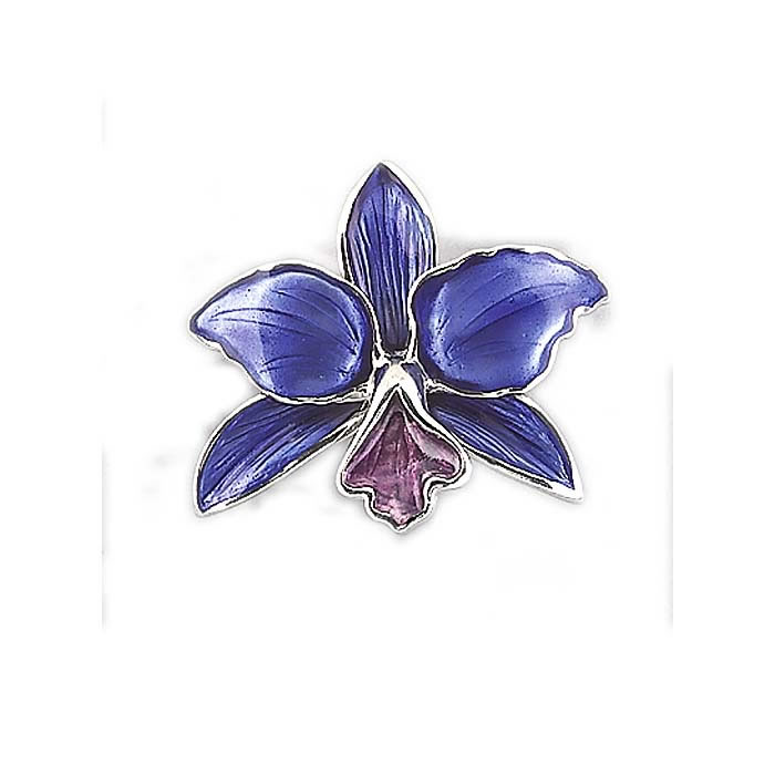 Sterling Silver Purple Orchid Brooch