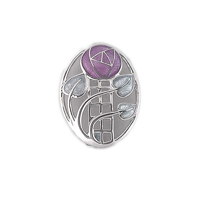Sterling Silver Pink Mackintosh Rose-Oval Brooch