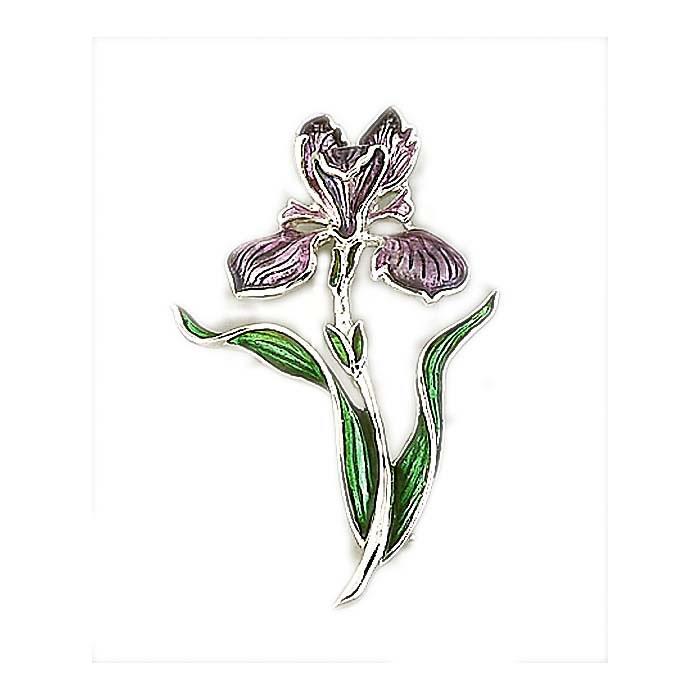 Sterling Silver Lavender Iris Brooch