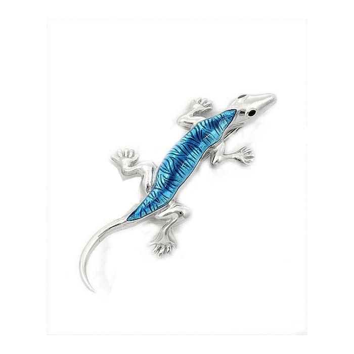 Sterling Silver Turquoise Lizard Brooch