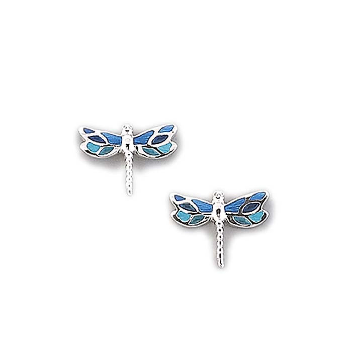 Sterling Silver Turquoise Dragonfly Stud Earrings
