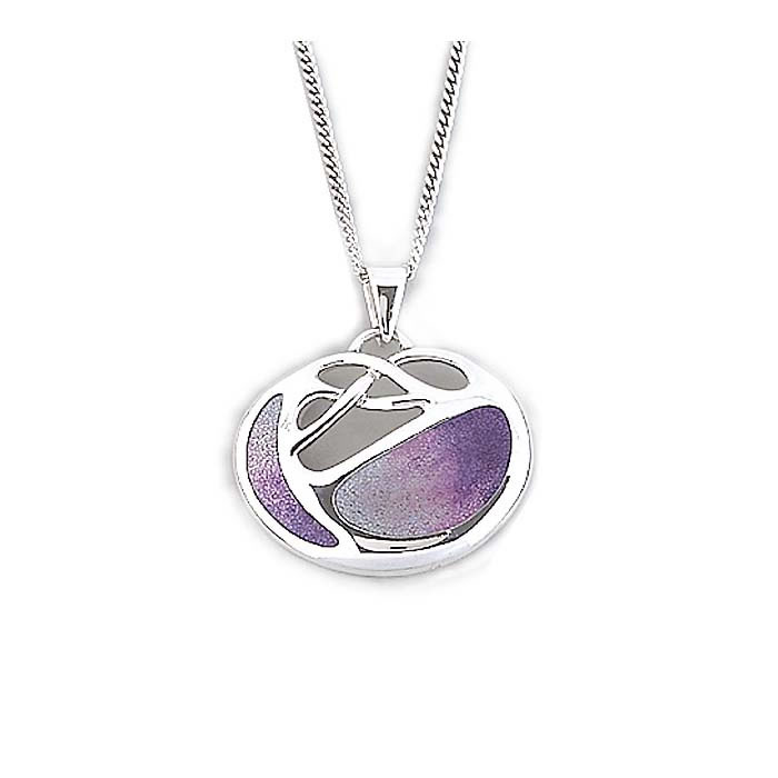 Sterling Silver Lavender Shades Art Nouveau Necklace