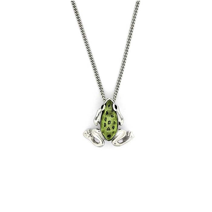 Sterling Silver Olive Green Frog Necklace