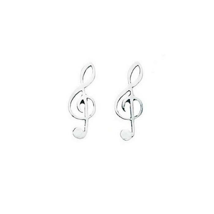 Sterling Silver Treble Clef Stud Earrings