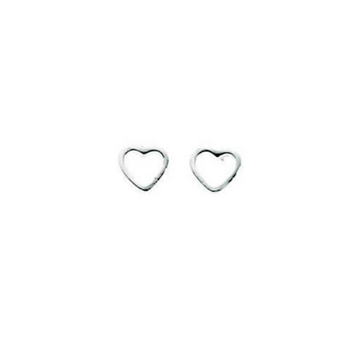 Sterling Silver Tiny Open Heart Stud Earrings