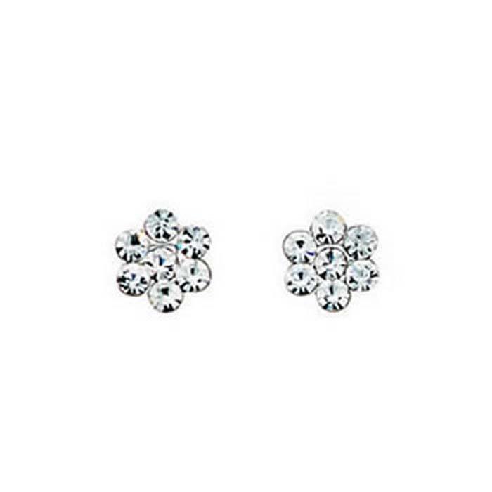 Sterling Silver Diamanté Flower Stud Earrings
