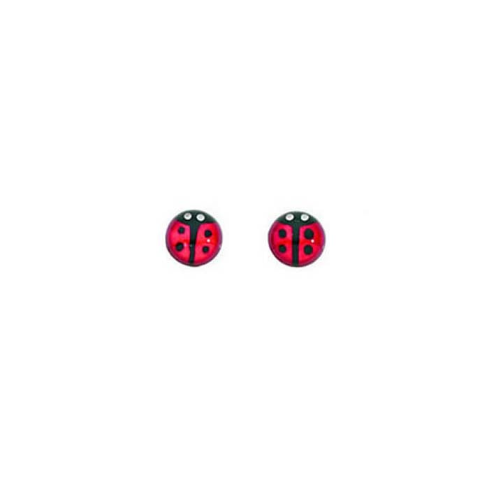 Sterling Silver Round Ladybird Stud Earrings