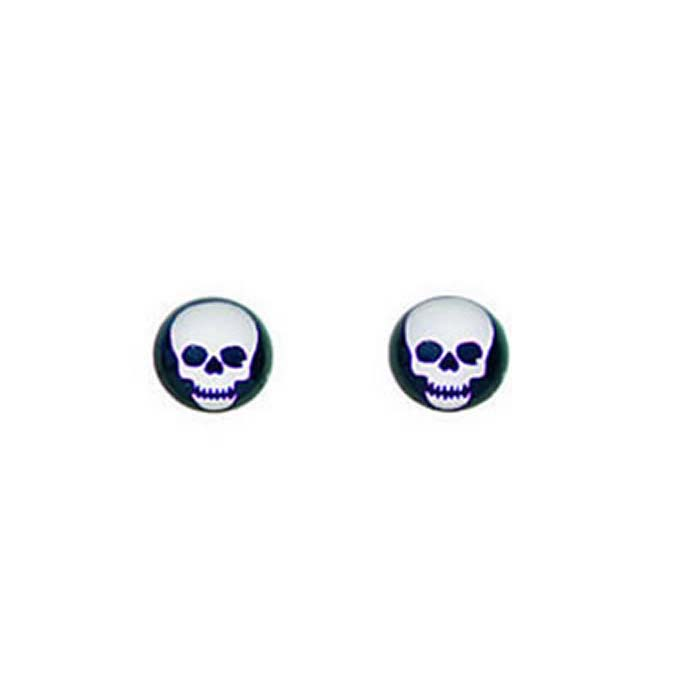 Sterling Silver Black And White Resin Skull Stud Earrings