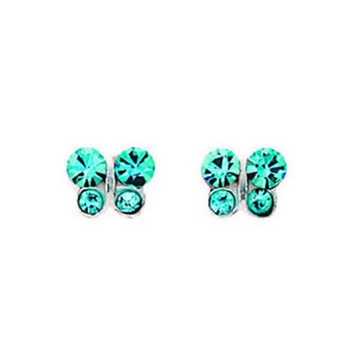 Sterling Silver Aqua Crystal Butterfly Stud Earrings