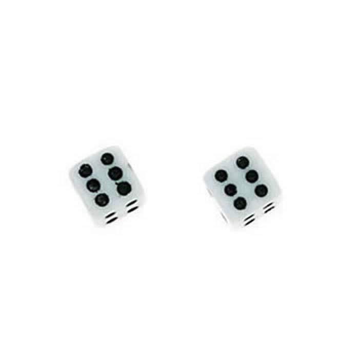 Sterling Silver Plastic Dice Stud Earrings