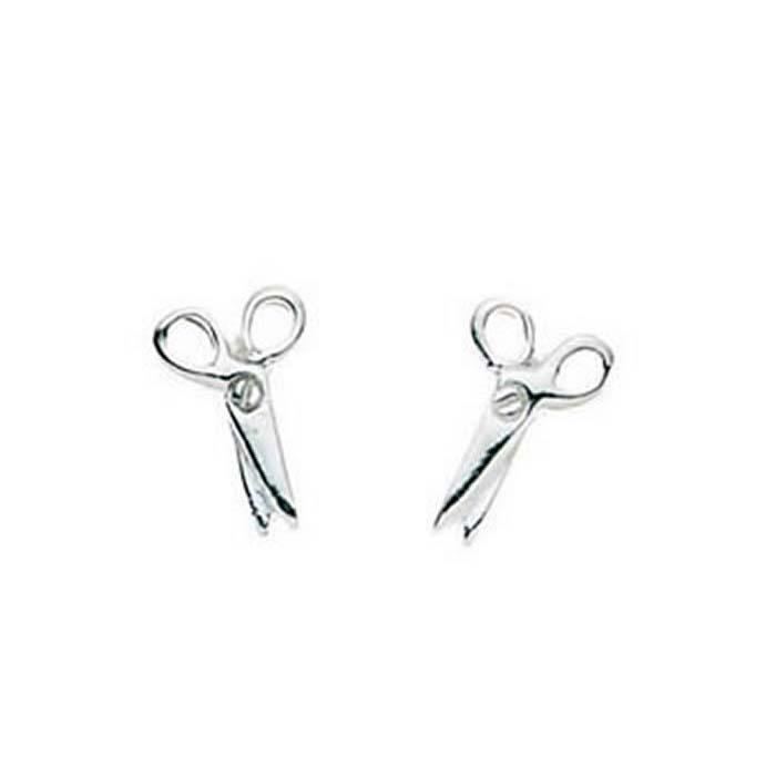 Sterling Silver Scissors Stud Earrings