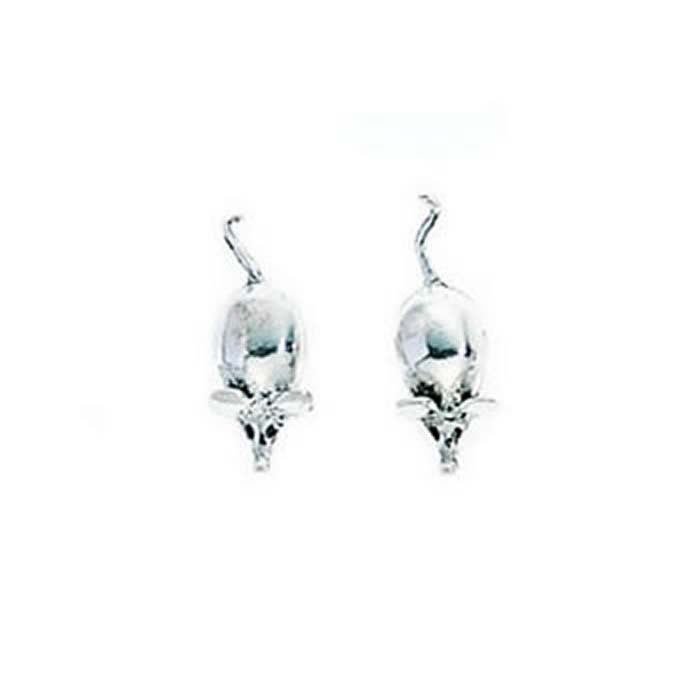 Sterling Silver Mouse Stud Earrings