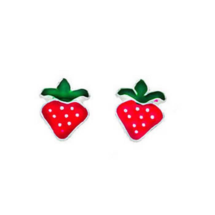 Sterling Silver Red Enamel Strawberry Stud Earrings