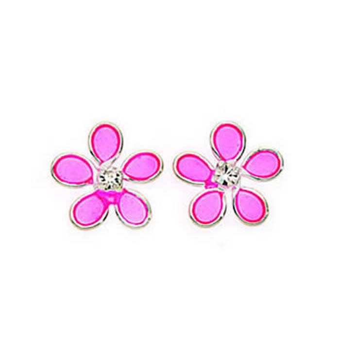 Sterling Silver Crystal And Light Pink Resin Flower Stud Earrings