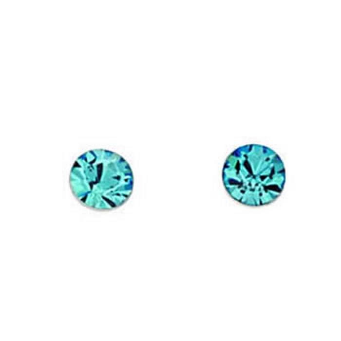 Sterling Silver Aquamarine Swarovski Crystal Style Stud Earrings