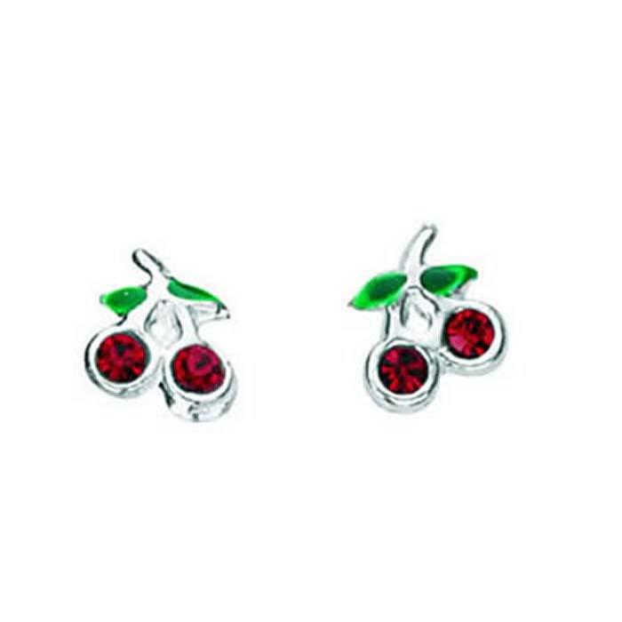 Sterling Silver Red Crystal Cherry Stud Earrings