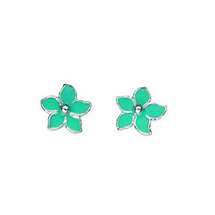 Sterling Silver Turquoise Enamel Pointy Flower Stud Earrings