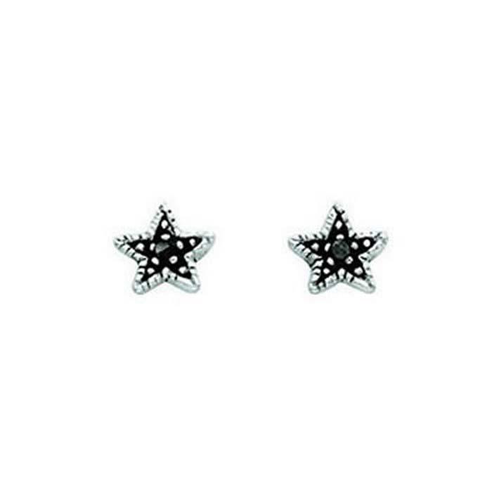 Sterling Silver Grey Crystal Oxidised Star Stud Earrings