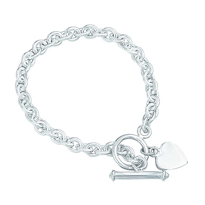 Sterling Silver 20cm Heart Tag T Bar Bracelet