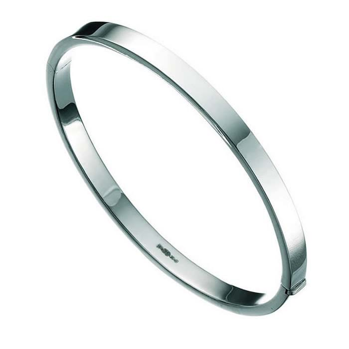 Sterling Silver Square Cut Bangle