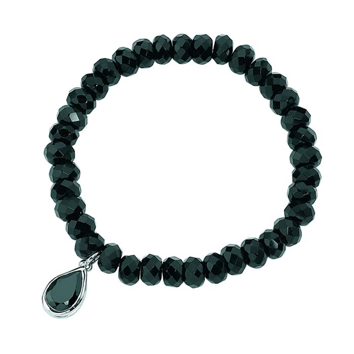 Sterling Silver Black Onyx Bead And Black Cubic Zirconia Drop Bracelet