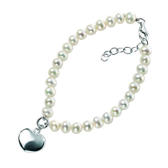 Sterling Silver White Freshwater Pearl Puff Heart Bracelet
