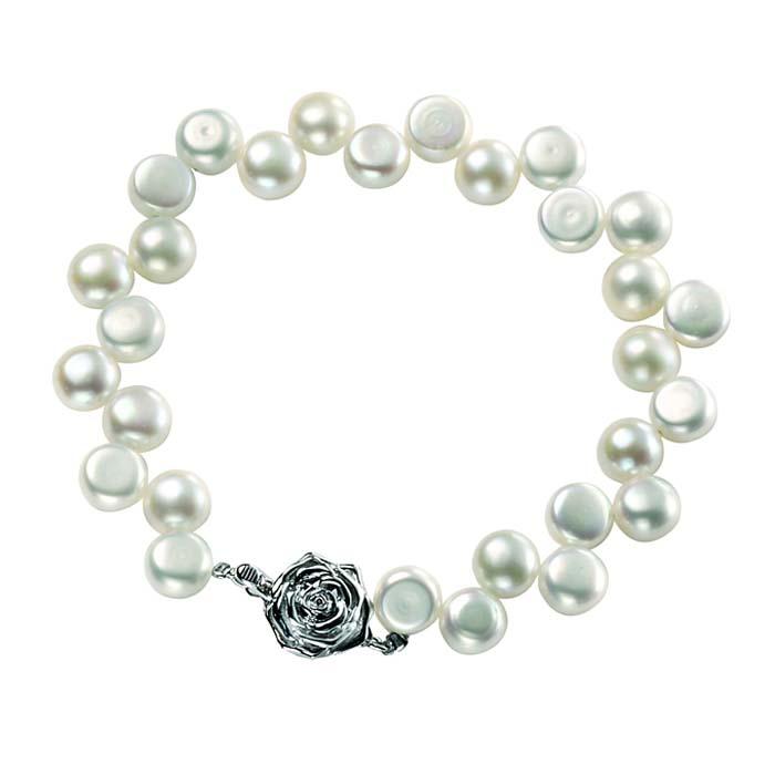 Sterling Silver White Freshwater Pearl Zig Zag Bracelet