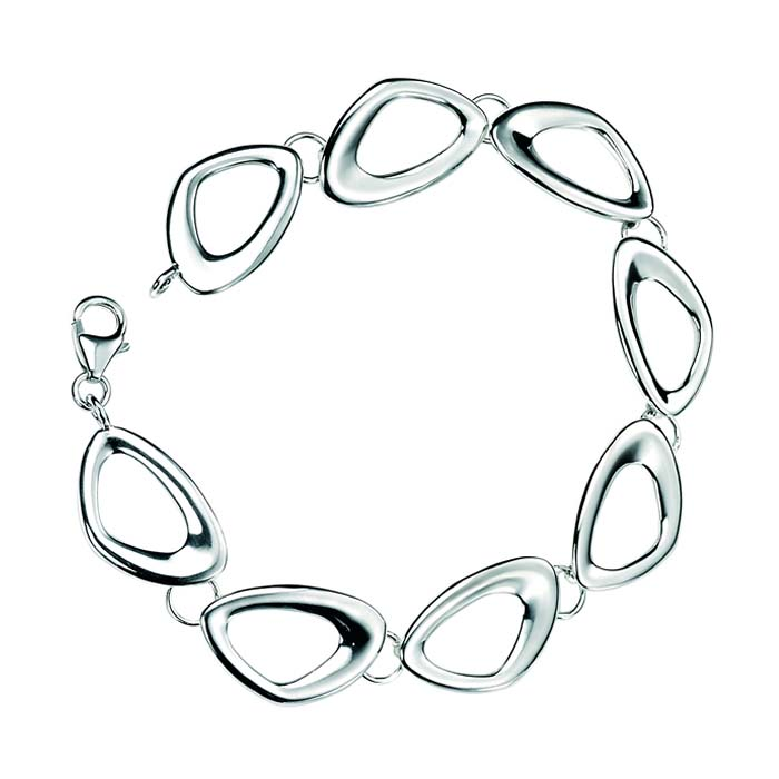 Sterling Silver Cut Out Pebble Link Bracelet