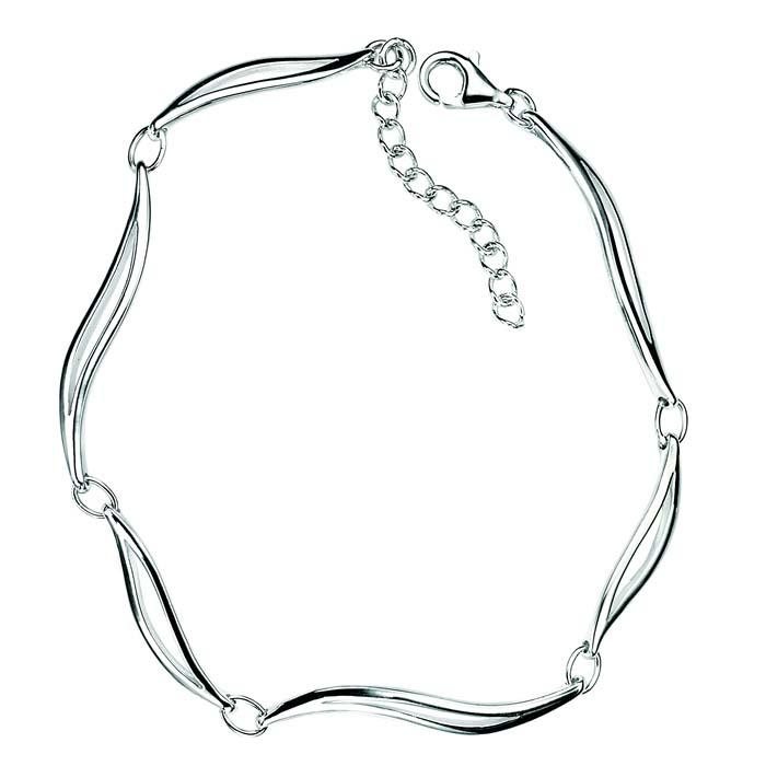 Sterling Silver Linked Leaves Bracelet