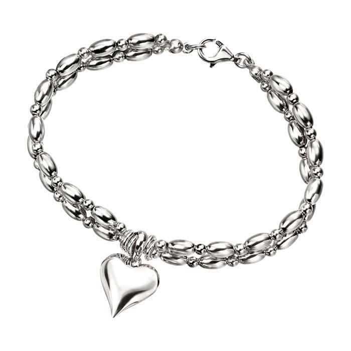 Sterling Silver Heart With Jumpring Bracelet